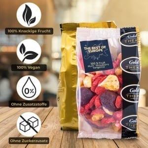 gefriegetrocknete Fruchtmischung GoldTHEKE - Best of Europe - gefriergetrocknete Erdbeeren, Mandarinen, Pflaumen - Info 1