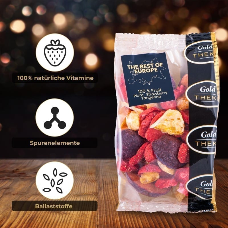 gefriegetrocknete Fruchtmischung GoldTHEKE - Best of Europe - gefriergetrocknete Erdbeeren, Mandarinen, Pflaumen - Info 2