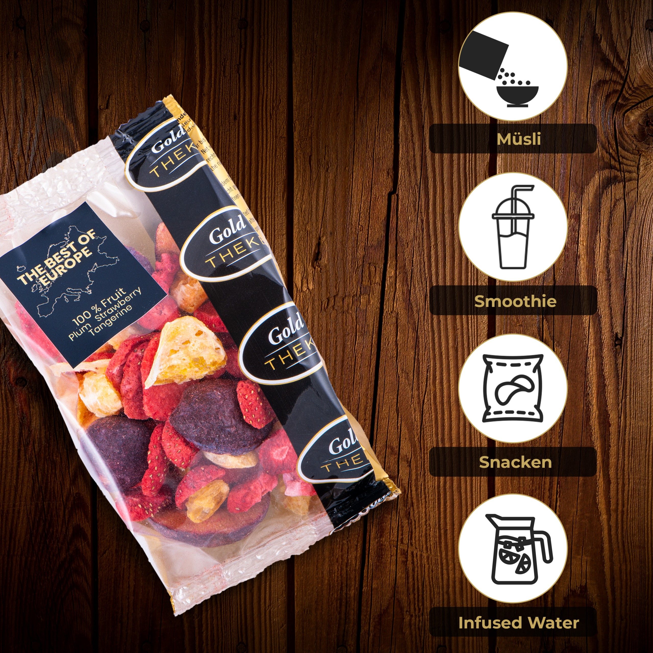 gefriegetrocknete Fruchtmischung GoldTHEKE - Best of Europe - gefriergetrocknete Erdbeeren, Mandarinen, Pflaumen - Info 3