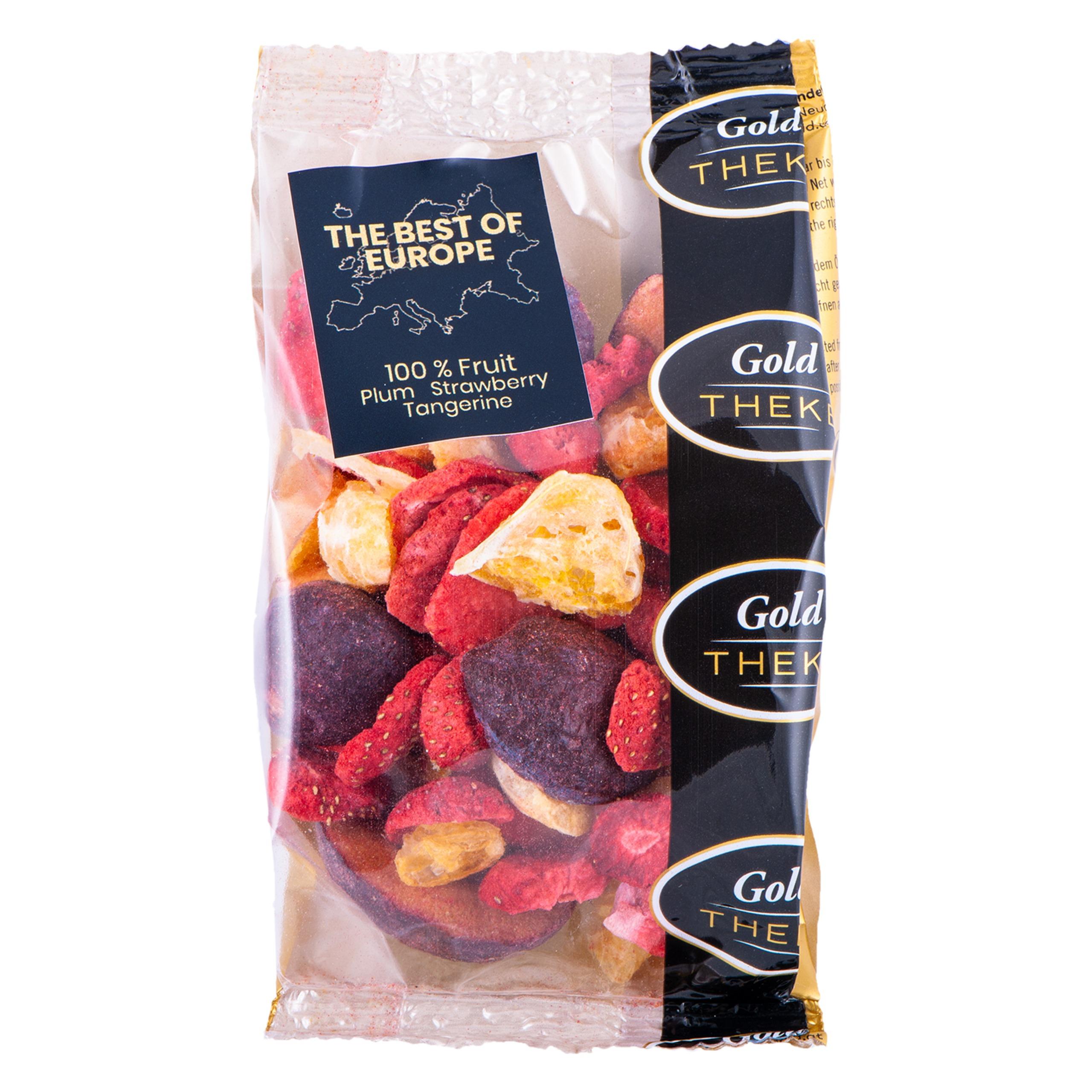 gefriegetrocknete Fruchtmischung GoldTHEKE - Best of Europe - gefriergetrocknete Erdbeeren, Mandarinen, Pflaumen