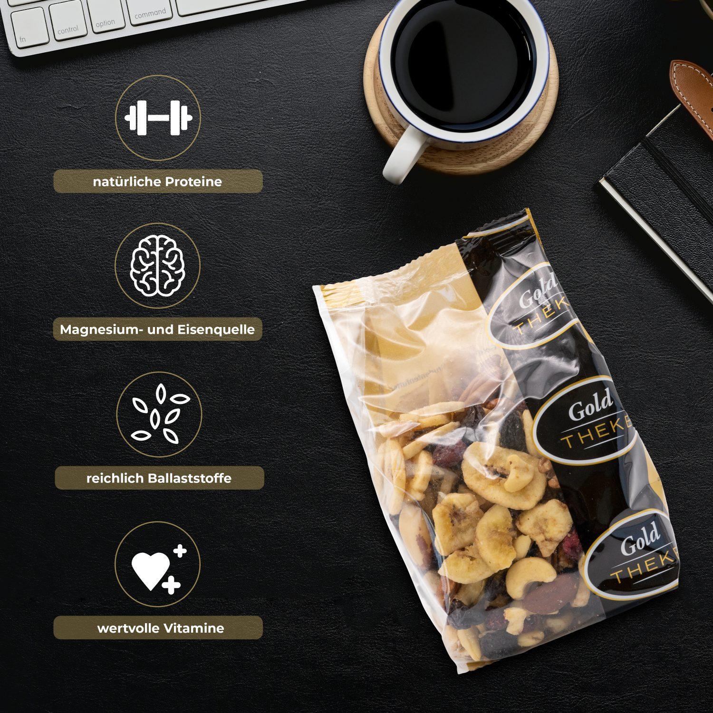 Studentenfutter mit Rosinen - Bananenchips - Pekannuss - Paranuss - Cranberries - Cashewkerne - GoldTHEKE Info 2