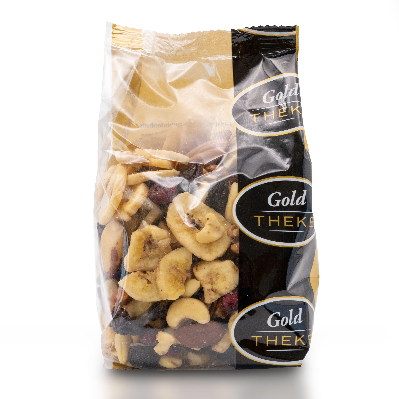 Studentenfutter mit Rosinen - Bananenchips - Pekannuss - Paranuss - Cranberries - Cashewkerne - GoldTHEKE