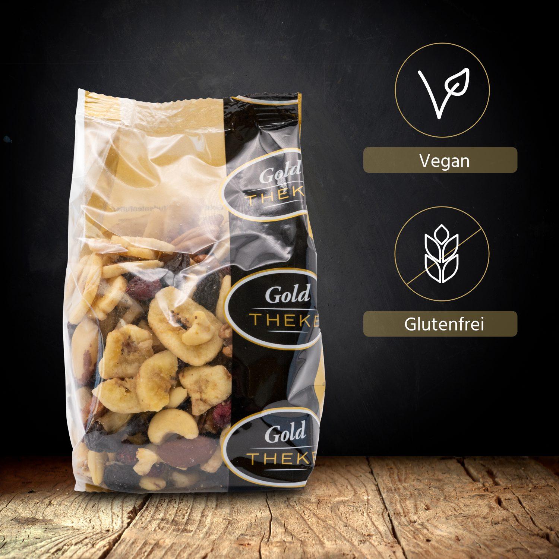 Studentenfutter mit Rosinen - Bananenchips - Pekannuss - Paranuss - Cranberries - Cashewkerne - GoldTHEKE Info